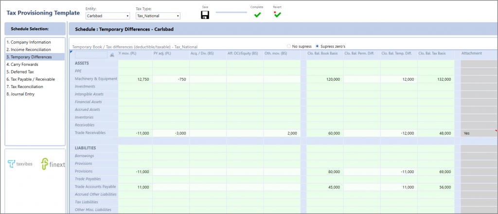 Tax Provisioning Template
